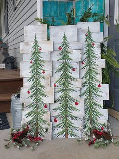 White washed, Red bulbs, Christmas Pine tree Reclaimed Wood Pallet Art, Christmas Hand painted, upcycled, Wall art, Distressed ***Can now be ordered with different colored bulbs!!******* (Just leave a color choice in note to seller box Original Acrylic painting on reclaimed