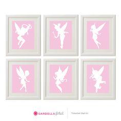 Customizable Tinkerbell Silhouette wall art, Tinkerbell faires, Fairy wall art, Disney Tinker bell Decor