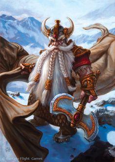 Dwarf dragonlord. Fantasy Illustrations by Scott Murphy #dwarf #rpg #d&d