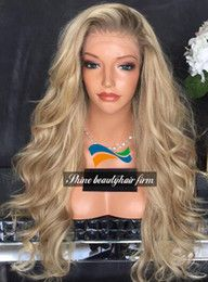 Wholesale Dark Roots Blonde Full Lace Silk Top Wigs for White Women 150% Density Virgin Brazilian Hair Free Part Lace Front Ombre Wigs