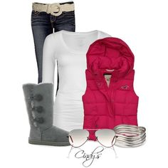 """""""Pink Vest"""" by cindycook10 on Polyvore"""