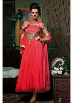 Georgette Long Suit In Peach Colour