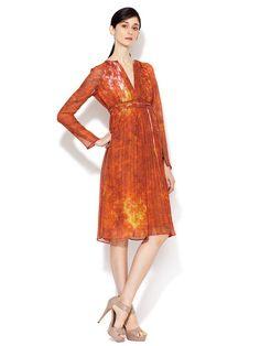 Silk Split Neck Long Sleeve Dress by AKRIS, 2013