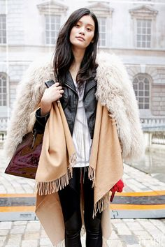 a fur vest looks absolutely posh and fab over any leather jacket, coat or outwear you have on. A denim or bicker jacket will also look great underneath a structured coat. Just make sure they are not bulky & they fit you well. Then you can mix and match pieces from different styles for a sophisticated look: silky top, hoodie, jeans/trousers, leather jacket. A sporty cap on, a cool bag, heels, lots of jewellery and a scarf will make you look like one of those off-duty models.