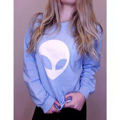 Alien Sweatshirt Tumblr Sweatshirt Women's Alien Head Shirt Ufo T... (78 BRL) ❤ liked on Polyvore featuring tops, hoodies, sweatshirts, light blue, women's clothing, off the shoulder sweatshirt, crewneck sweatshirt, crew neck shirt, off shoulder shirt and crew shirt