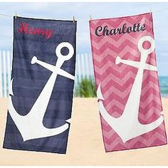 Personalized Anchors Away Beach Towel