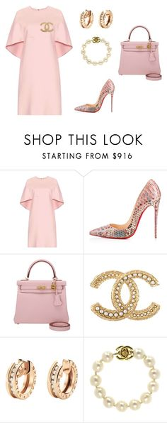 """Untitled #272"" by nadiralorencia on Polyvore featuring Valentino, Christian Louboutin, Hermès, Chanel, Bulgari, women's clothing, women's fashion, women, female and woman"