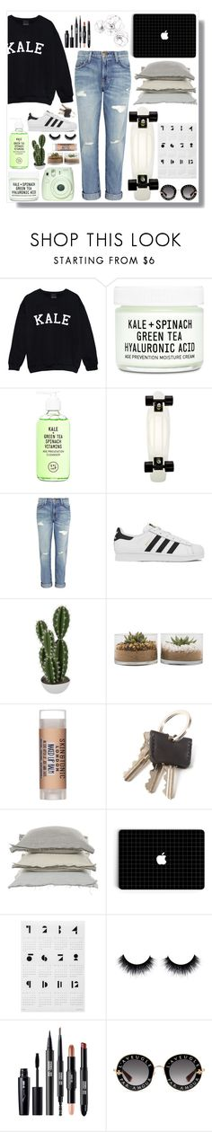 """""""Kale//Lucy"""" by lucylime ❤ liked on Polyvore featuring Youth To The People, Current/Elliott, adidas, Abigail Ahern, Skin & Tonic, V Rugs & Home and Gucci"""