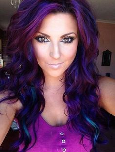 Dark purple, Burgundy, Dark blue, and Teal colored hair