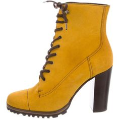 Pre-owned Miu Miu Suede Round-Toe Ankle Boots ($245) ❤ liked on Polyvore featuring shoes, boots, ankle booties, yellow, bootie boots, short boots, round toe ankle boots, yellow ankle boots and block heel booties