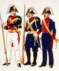 Guardia en Uniforme de Gala en formación en verano (1844 – 54 ) Guardia en Uniforme de Servicio en despoblado ( 1850 – 54 ) Cabo en Uniforme de Gala para paseo ( 1844 – 54 )