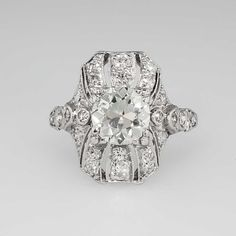 One Of A Kind Edwardian 2.19ct t.w. Old European Cut Ring Platinum | Antique & Estate Jewelry | Jewelry Finds