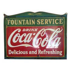 Image of 1935 Vintage Enamel Coca-Cola Tin Store Sign