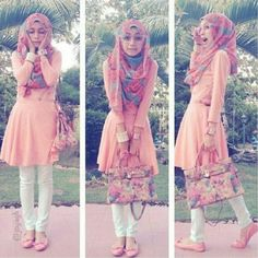Love the dress over the skinnies! I'd probably do a scarf instead of a hijab though... ;)