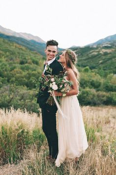 When it comes to boho wedding hair, you can't go wrong with braids, loose curls, and of course, flower crowns.