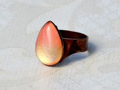 Image of ombre teardrop ring - coral gold dipped