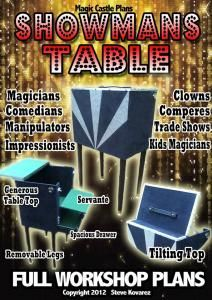 http://magiccastleplans.com/Products.php Stage magic trick illusion build workshop plans blueprints book theatre effect dramatic actor magician illusionist magic table pop up