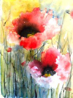 "Dreamy Poppies IV - Saatchi Online Artist Karin Johannesson; Painting, ""Dreamy Poppies IV"" #art"