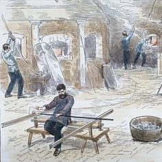 """This #lithograph from #HarpersWeekly shows #glass factory workers """"pressing and bottoming goblets"""" in 1884. Not quite the same as making a #goblet in Bill Gudenrath's Advanced Venetian #Glassblowing class, but we spot a few familiar tools. Welcome to all the new Studio students on campus this week! (Scenes in a glass foundry, Pittsburgh, Pennsylvania by Theo. R. Davis, CMGL 61268) #RakowLibrary"""