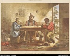 Johnson, J. (Joseph Colin Francis) A game of euchre in the Ballarat Fine Art Gallery - life on the goldfields - and a scene of tolerance that was not always the norm.