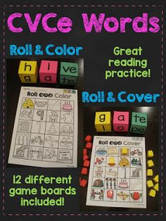 CVCe Words Roll Literacy Stations your students will LOVE that provides a lot of CVCe word reading practice! These games are played just like the CVC Words Roll! Students roll the dice to make a CVCe word. Teaching Money, Teaching Phonics, Phonics Activities, Teaching Reading, Word Reading, Reading Practice, Writing Activities, Teaching Ideas, Classroom Routines And Procedures