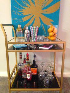 a touch of teal: DIY: Gold Bar Cart