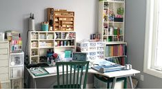 I think it's time for a craft room update. A few months ago, we had the great 'domino effect' furniture move. My son needed a desk, so we mo. Craft Room Organisation, Small Space Organization, Craft Storage, Storage Ideas, Scrapbook Storage, Scrapbook Organization, Craft Room Tables, Craft Rooms, Room Wanted