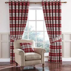 Featuring tartan style checks in rich red shades complemented by white highlights, these luxurious Dorma eyelet curtains are fully lined with 100% cotton sateen...