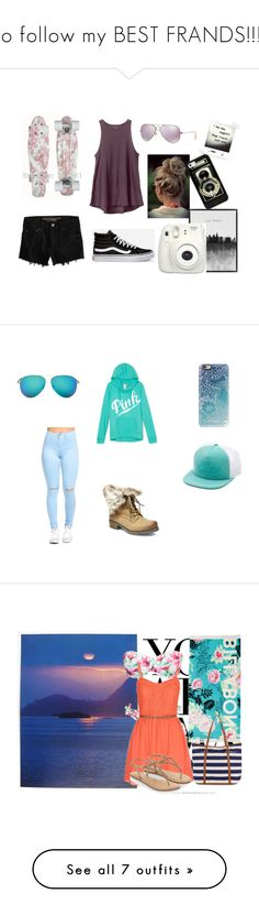 """Go follow my BEST FRANDS!!!!!!"" by catwomen-243 ❤ liked on Polyvore featuring American Eagle Outfitters, RVCA, Vans, Ray-Ban, Casetify, Victoria Beckham, Steve Madden, NOVICA, Hot Anatomy and maurices"