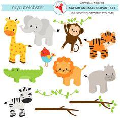 Safari Animals Clipart Set clip art set por mycutelobsterdesigns