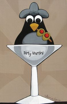 "Dirty Martini "" Whimsical Bird in Martini Glass Art Painting by Annie Lane Chicken Painting, Chicken Art, Painted Rock Animals, Painted Rocks, Chicken And Cow, Rooster Art, Arte Country, Artwork Online, Animal Paintings"