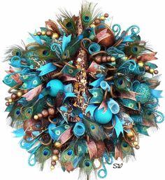 Peacock Wreath,Holiday,Deco Mesh-Chocolate Brown,Turquoise, Feathers,Birds,Tree #Handmade