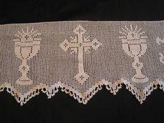 "RARE c1920 Mary Card Very Ornate Filet Crochet Alb Altar Cloth Trim 8x226"" EVC | eBay"