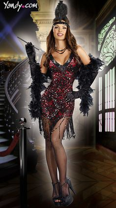 Dames Like Us Costume, Sequin Flapper Costume, Black and Red Flapper Costume