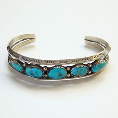 Navajo Row Turquoise Cuff Bracelet Sterling Silver Signed AB Native American Boho Bohemian Chic by redroselady on Etsy