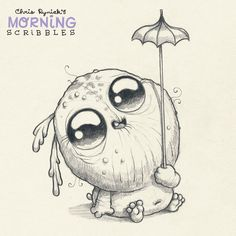 Miscalculated umbrella to head ratio.  ☔️ #morningscribbles