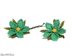 Lace flower hair clip - bobby pin, Turquoise / aqua green, summer accessory by LandofDante,