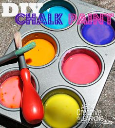 DIY Outside Chalk Paint for Kids is a great way to get kids to play outside in a  fun and creative way! Super easy to make and cleans off easily! - abccreativelearning@gmail.com