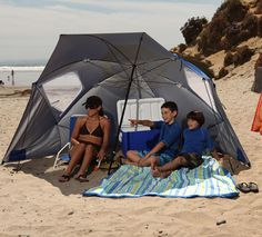 umbrella that turns into beach tent with vents so it doesn't blow over. Awesome.