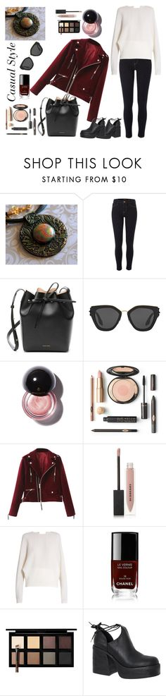 """Casual style 1"" by julia-buduart ❤ liked on Polyvore featuring River Island, Mansur Gavriel, Prada, Burberry, Carl Kapp, Chanel, Down to Earth and Windsor Smith"