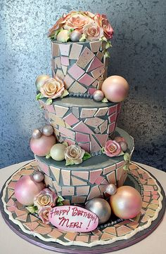 I really like this idea for a wedding cake, obviously without the happy birthday mom nonsense