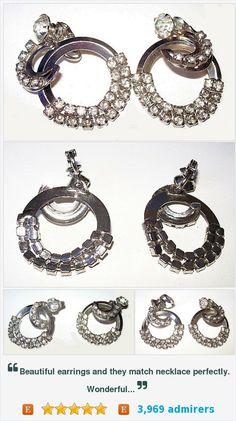 "Rhinestone Dangle Drop Earrings Crescent Shape Clip Ons Silver Metal 1 3/4"" Vintage https://www.etsy.com/listing/251139019/"
