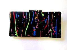 Handmade women black wallet with splashes of paint by PatrisCorner, $40.00