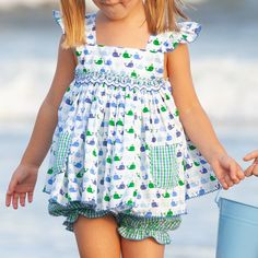 Our Girls Nantucket Whale Smocked Set top features a whimsical whale print, fun pockets in blue and green gingham, and custom smocking. Our Girl, Boy Or Girl, Whale Print, Team Gifts, Whale Watching, Nantucket, Smocking, Gingham, Elastic Waist