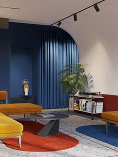 Blue Yellow Rooms, Red Rooms, Yellow Red Blue, Color Blue, Yellow Sofa, Loft Interiors, Red Interiors, Colorful Interiors, Interior Color Schemes