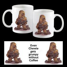 Even Chewie gets Grumpy without Coffee, funny Star Wars Chewbacca Coffee Mug