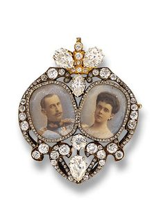 AN HISTORIC ROYAL PORTRAIT MINIATURE BROOCH, BY KOECHLI   The two miniature portraits of HRH Prince Nicholas of Greece (1872-1938) and HI and HR Grand Duchess Elena Vladimirovna of Russia (1882-1957) commemorating their wedding in 1902, within a rose-cut diamond border to the heart-shaped vari-cut diamond frame, 4.4 cm. high, with Russian assay mark for gold  With maker's mark for Friedrich Koechli (1839-1909) #Royal #jewelry