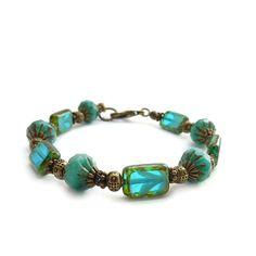 Aqua Blue Beaded Bracelet  Picasso Finished by RockStoneTreasures, $42.00