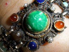 7 3/4 SELRO Bracelet Blue Green Coral CABS Fx Pearls Antique Brass PRIORITY MAIL #Selro #CuffVintageMidCenturyRockabillyRetro