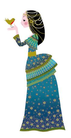 "by children's book illustrator Charlotte Gastaut  ""She is a princess! Work in progress for Djeco."""